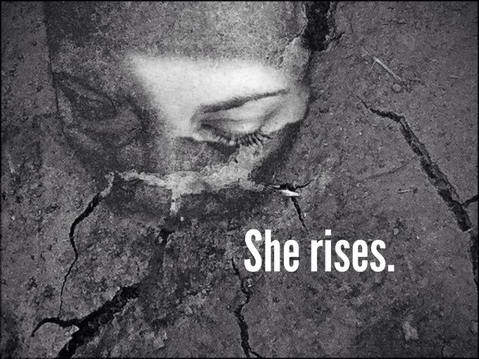 She rises.