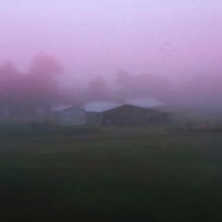 barn on a misty morning